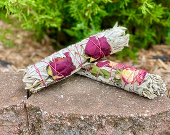 Large White Sage with Roses - Organic Sage - Organic Roses - Native American