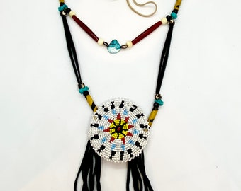 Beaded Medallion Necklace - Native American - Sage Blessed - Buckskin Fringe - Lakota - Sioux - (ww119)