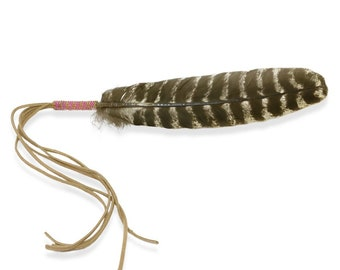 Beaded Smudge Feather -Native American - Smudging Feather - Prayer Feather - Buckskin Fringe - Beadwork Fan