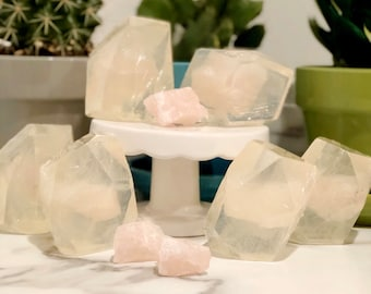 Rose Quartz Crystal Soap - Love Crystal - Genuine Raw Crystal - Vegan