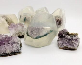Amethyst Crystal Soap - Genuine Crystal - Organic Soap - Lavender Essential Oil - Natural Soap - Energy Crystal Soap