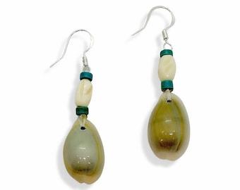 Native American Shell Earrings - Turquoise - Buffalo Bone