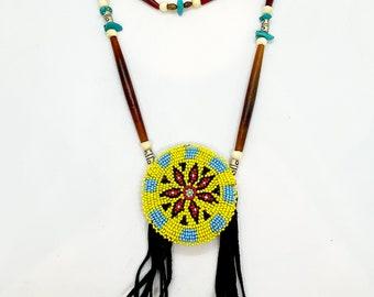 Beaded Medallion Necklace - Breastplate - Native American - Sage Blessed - Buffalo Bone & Horn Beads - Handmade - Lakota - Powwow - (ww126)