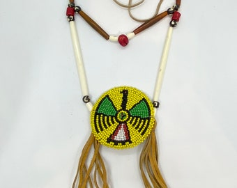 Beaded Thunderbird Medallion Necklace - Native American - Sage Blessed - Buffalo Bone & Horn Beads - Buckskin - (ww117)