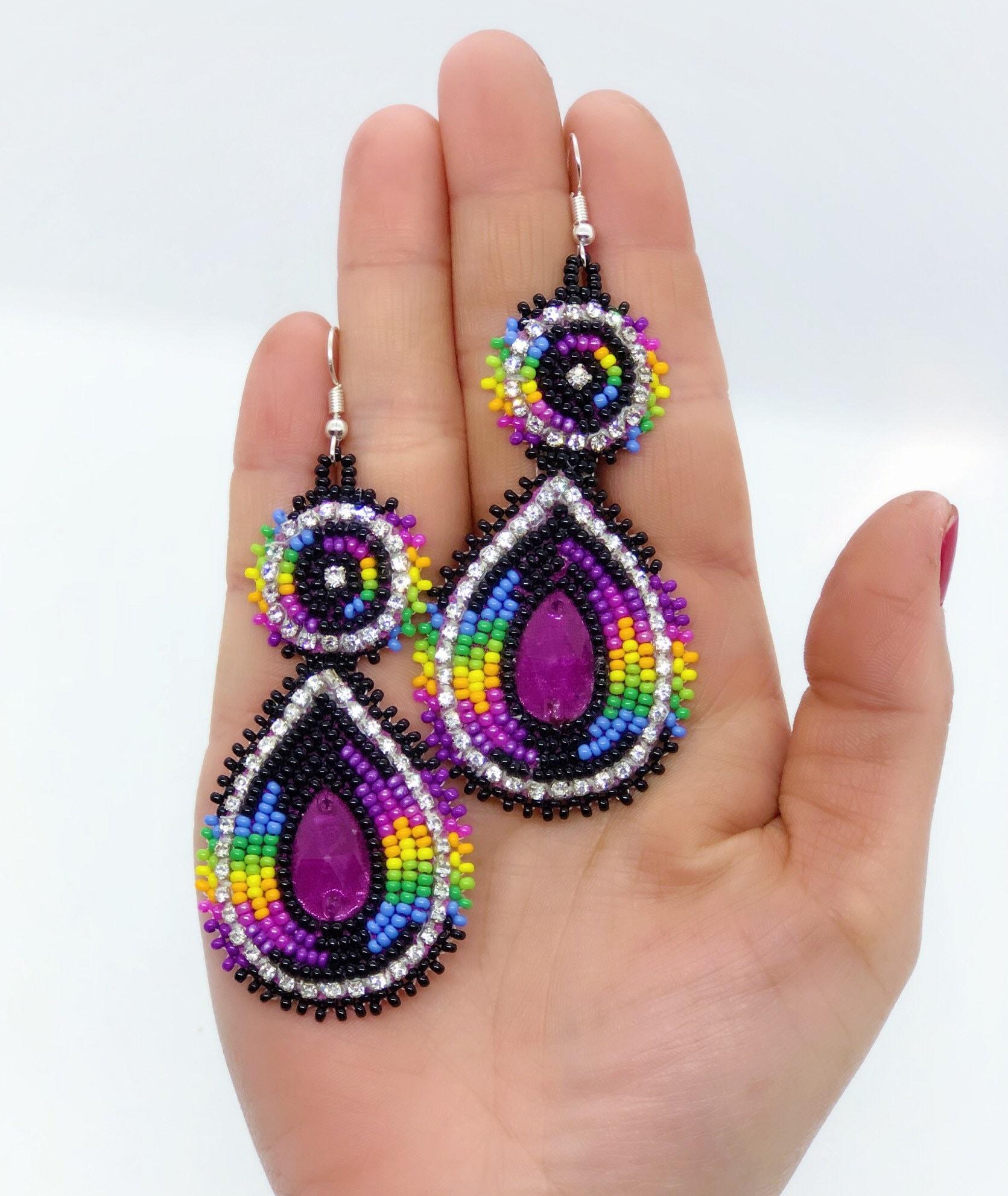 Beaded Earrings - Native American - Purple - Rhinestones