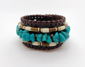 Leather Cuff Bracelet - Native American - Sage Blessed - Buffalo Bone - Adjustable Sizing - Boho Jewelry - Boho Chic - Hippie Bracelet
