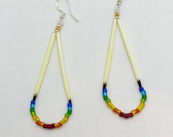 Porcupine Quill Earrings - Native American - Rainbow- Glass Beads - Lakota - Sioux - Authentic