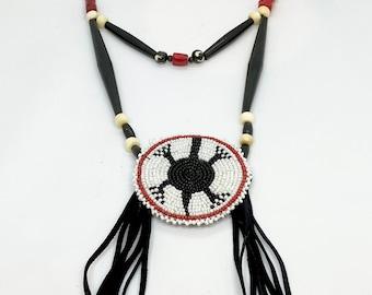 Beaded Medallion Necklace - Native American - Buffalo Bone & Horn Beds - Buckskin Fringe - Adjustable Size - (ww114)
