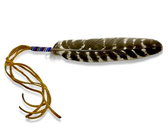 Beaded Smudge Feather - Beaded Prayer Feather - Turkey Feather - Native American - Sage Blessed - Alter Feather - Smudging Feather