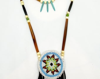 Native American Beaded Medallion Necklace - Sage Blessed - Buffalo Horn & Bone Beads - Turquoise - (ww118)