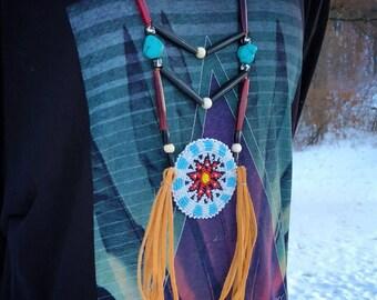 Beaded Medallion Necklace - Native American - Sage Blessed - Buckskin - Buffalo Horn & Buffalo Bone Beads - Turquoise - (ww107)