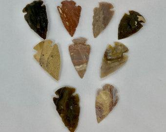 Hand Knapped Arrowheads - Agate and Stone - Handmade