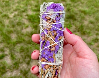 White Sage and Purple Sinuata Flowers - Smudge Stick - Organic - Native American