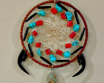 Native American Dreamcatcher - Sage Blessed - Turquoise - Buffalo Bone Beads - Buckskin