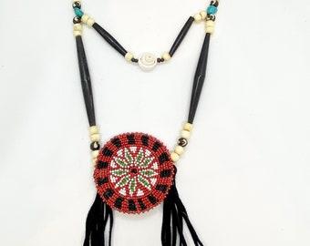 Breastplate Necklace - Native American - Beaded Medallion - Buffalo Bone Beads - Turquoise -Handmade (ww111)