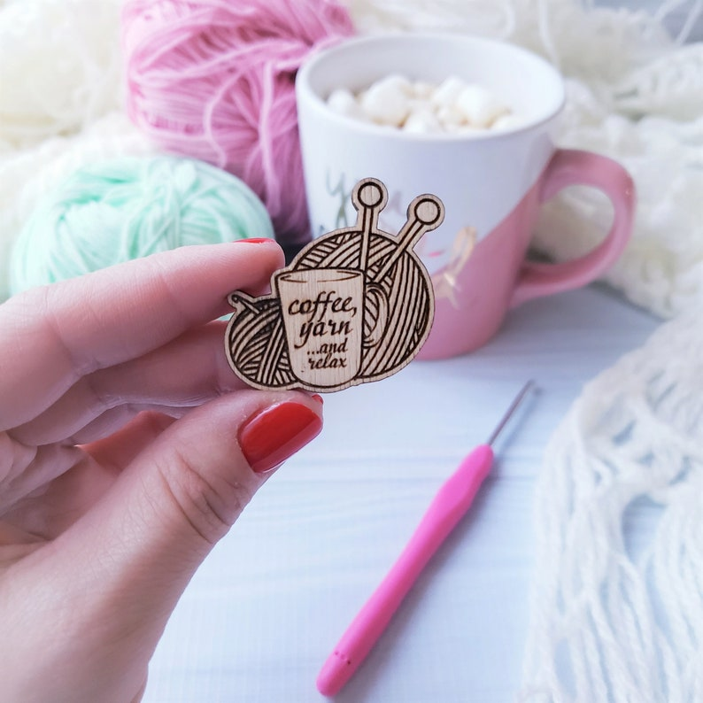 Yarn Balls Coffee Cup Wooden Pin Valentine's Gifts Gift image 0