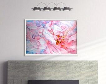 Original Silk Painting -Zephyr-Pink Peony- Painting on Silk - Flower Painting