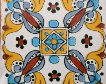 C#082))  Mexican Ceramic 4x4  inch Hand Made Tile