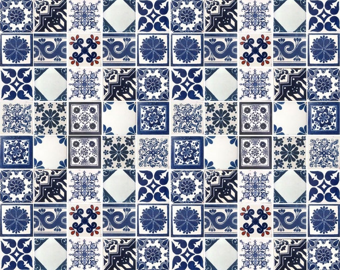 100 Blue and Off white Assorted Mexican Ceramic 4x4 inch Hand Made Tiles