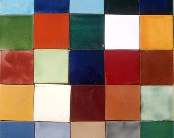 25 Assorted Solid Mexican Ceramic 4x4 inch Hand Made Tiles