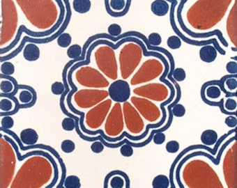 C#002))  Mexican Ceramic 4x4  inch Hand Made Tile