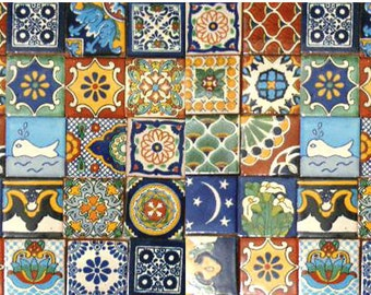 50 Assorted 2x2 inch. Mexican Ceramic Hand Made Tiles