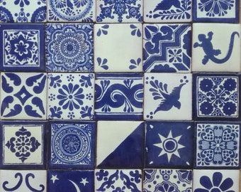 25 tiles 2x2 inch. Blue and Off white Assorted Mexican Ceramic Hand Made Tile