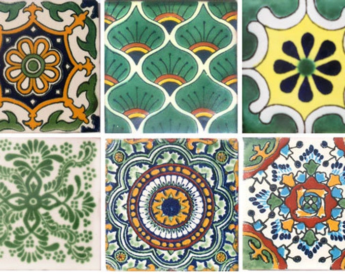 Special 90 Assorted Mexican Ceramic 4x4 inch Handmade Tiles