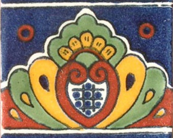 C#064))  Mexican Ceramic 4x4  inch Hand Made Tile