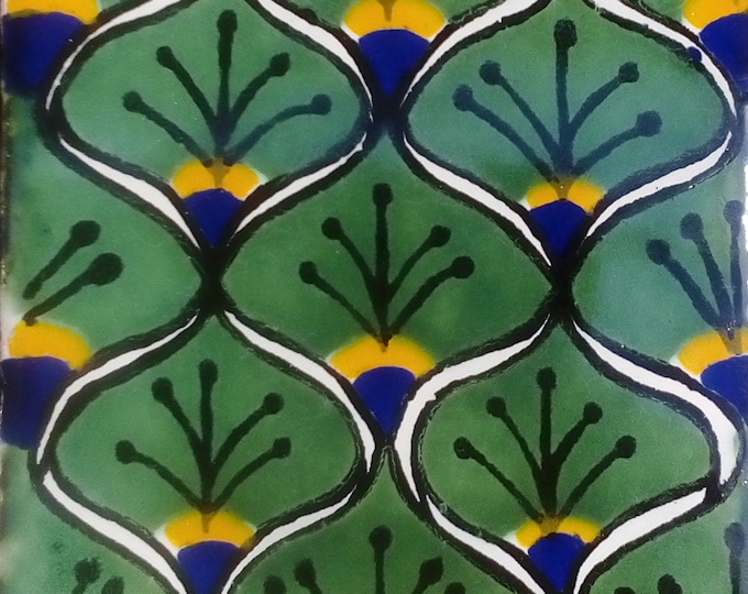 C#056))  Mexican Ceramic 4x4  inch Hand Made Tile