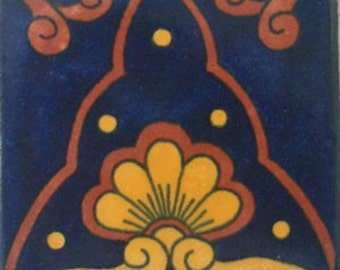 C#071))  Mexican Ceramic 4x4  inch Hand Made Tile