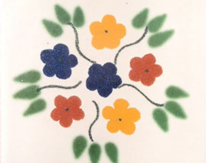 C#005))  Mexican Ceramic 4x4  inch Hand Made Tile