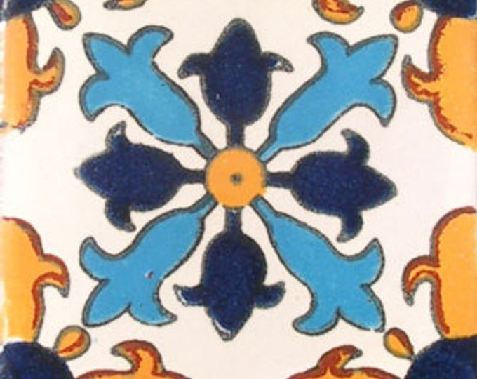 C#004))  Mexican Ceramic 4x4  inch Hand Made Tile