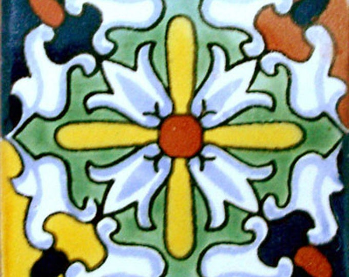 C#084))  Mexican Ceramic 4x4  inch Hand Made Tile