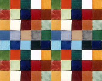 100 Assorted Solid colors Mexican Ceramic 4x4 inch Hand Made Tiles