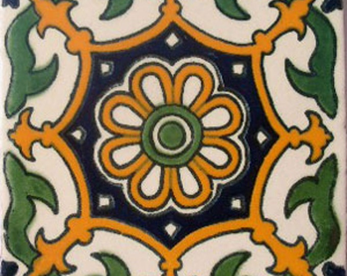 C#061))  Mexican Ceramic 4x4  inch Hand Made Tile