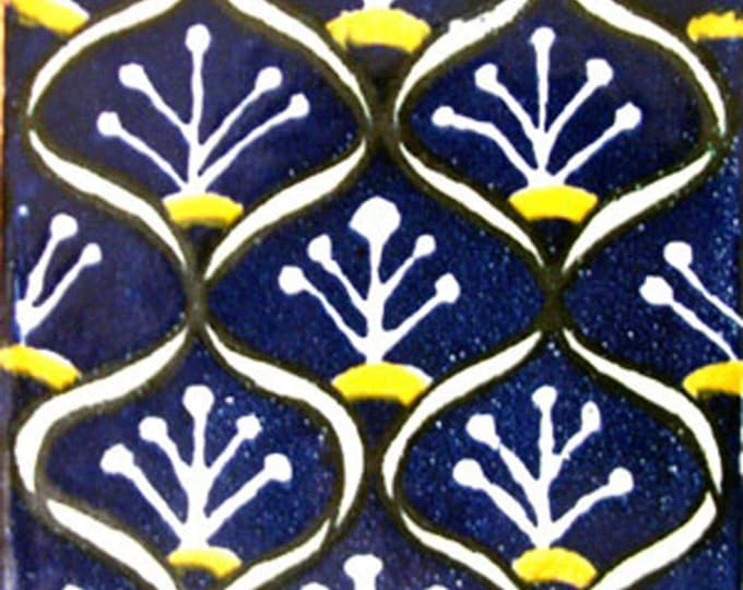 C#075))  Mexican Ceramic 4x4  inch Hand Made Tile