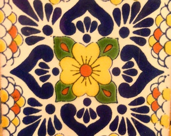 C#118))  Mexican Ceramic 4x4  inch Hand Made Tile