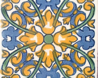 C#033))  Mexican Ceramic 4x4  inch Hand Made Tile