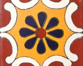 C#017))  Mexican Ceramic 4x4  inch Hand Made Tile