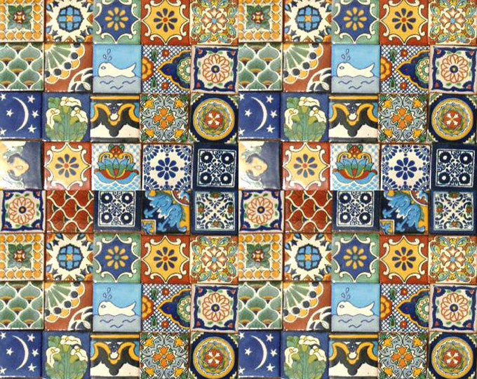 100 Assorted 2x2 inch. Mexican Ceramic Hand Made Tiles