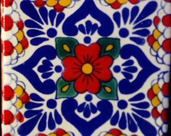 C#117))  Mexican Ceramic 4x4  inch Hand Made Tile