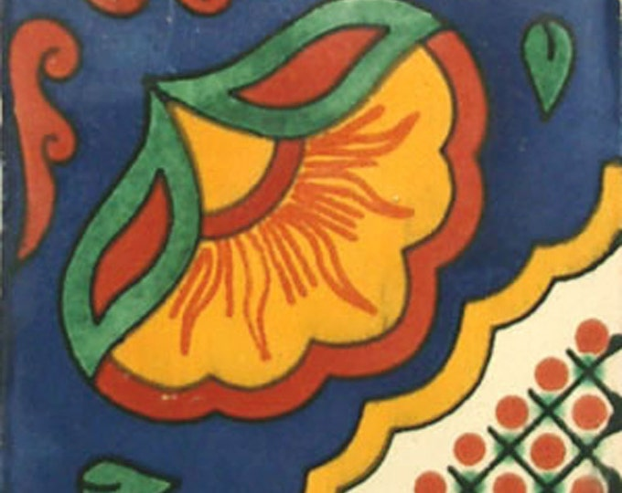 C#073))  Mexican Ceramic 4x4  inch Hand Made Tile