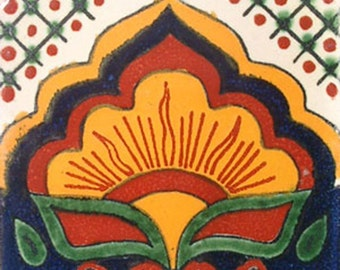 C#014))  Mexican Ceramic 4x4  inch Hand Made Tile