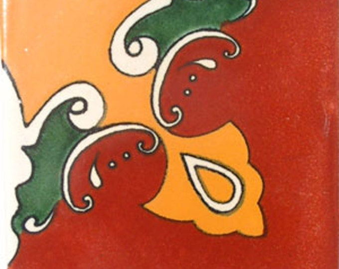 C#006))   Mexican Ceramic 4x4  inch Hand Made Tile