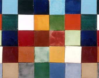 50 Assorted Solid colors Mexican Ceramic 4x4 inch Hand Made Tiles