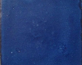 S#005))  Mexican Ceramic 4x4  inch Hand Made Tile Washed Cobalt blue