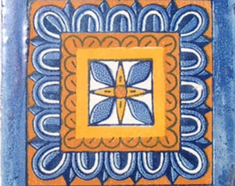 C#034))  Mexican Ceramic 4x4  inch Hand Made Tile