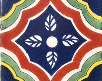 C#048))  Mexican Ceramic 4x4  inch Hand Made Tile