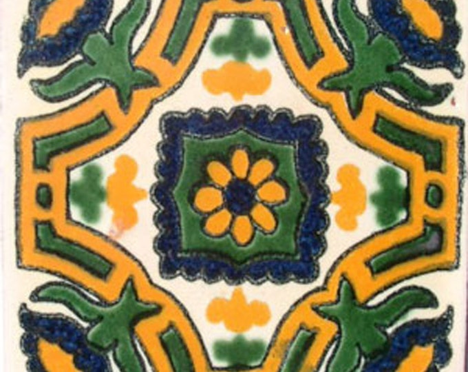 C#042))  Mexican Ceramic 4x4  inch Hand Made Tile